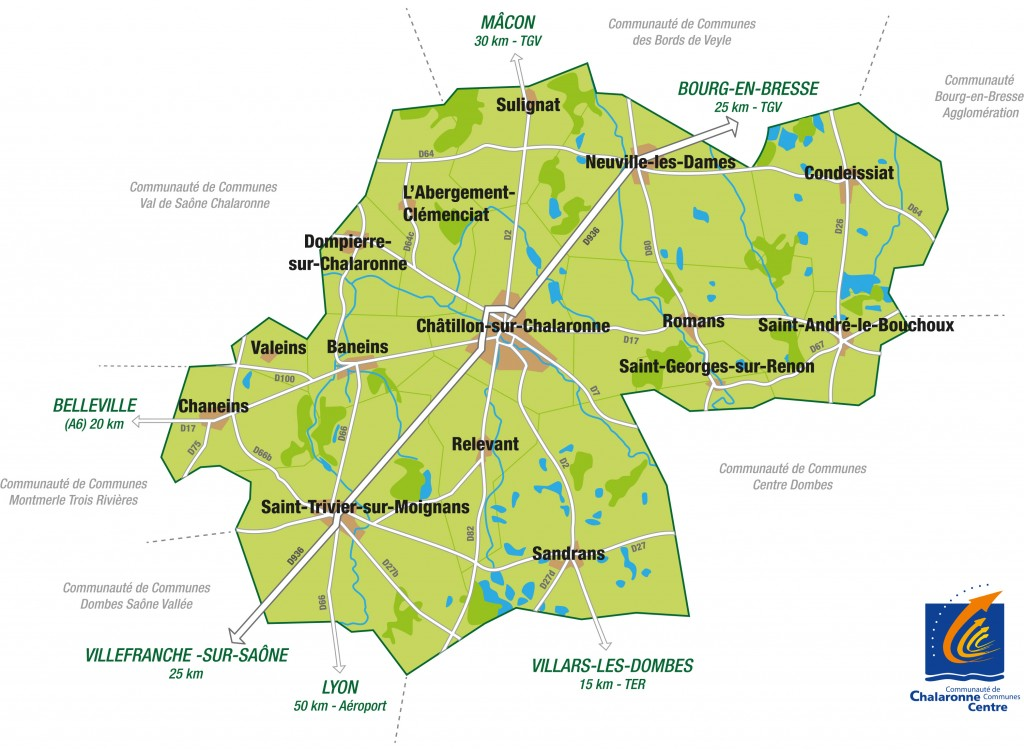Carte territoire CC Chalaronne Centre avec