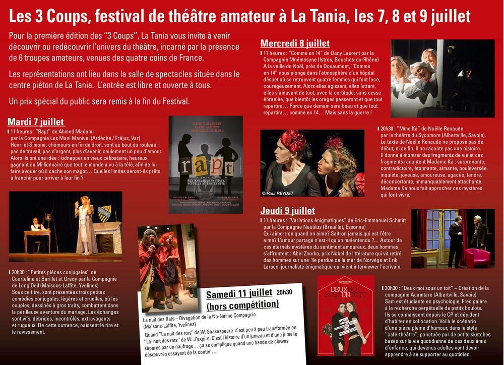 Archive les trois coups festival de th tre amateur la - Les trois coups au theatre ...