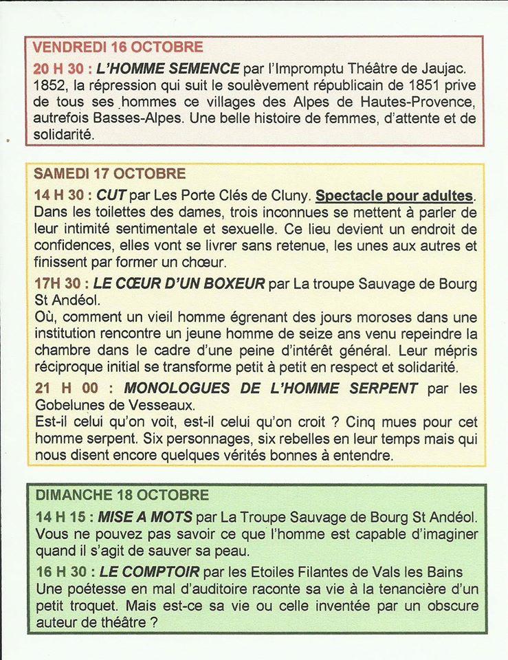 Vesseaux 2015 Programme