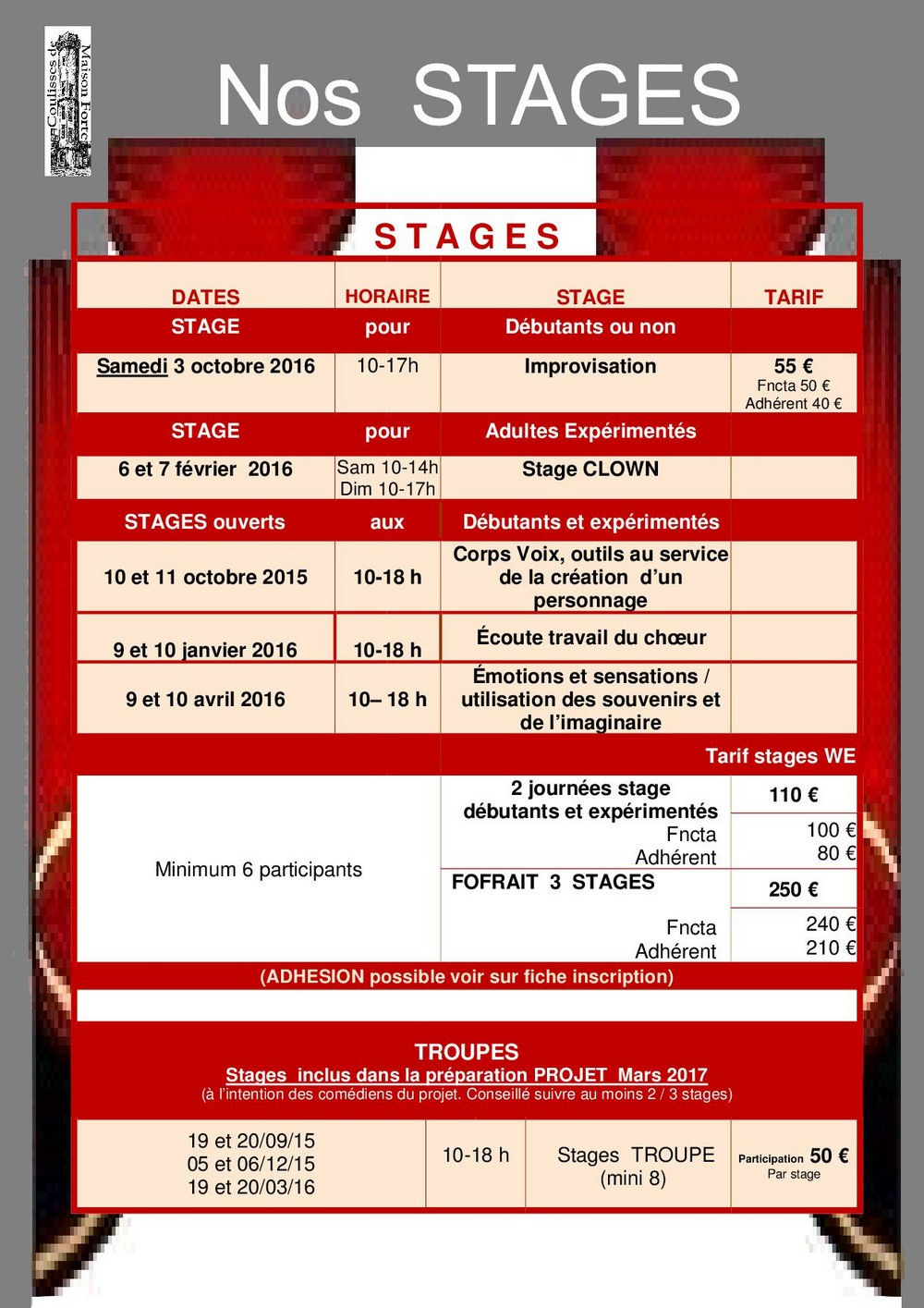 STAGES COULISSES MF 2015-2016