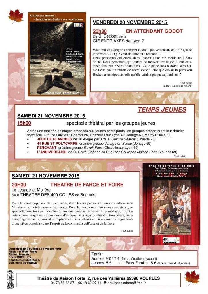 Automnales de Vourles- Programme au 2 Nov 2015