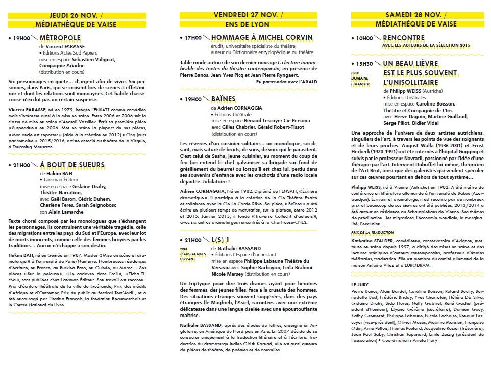 Journées de Lyon des auteurs Programme-Nov2015