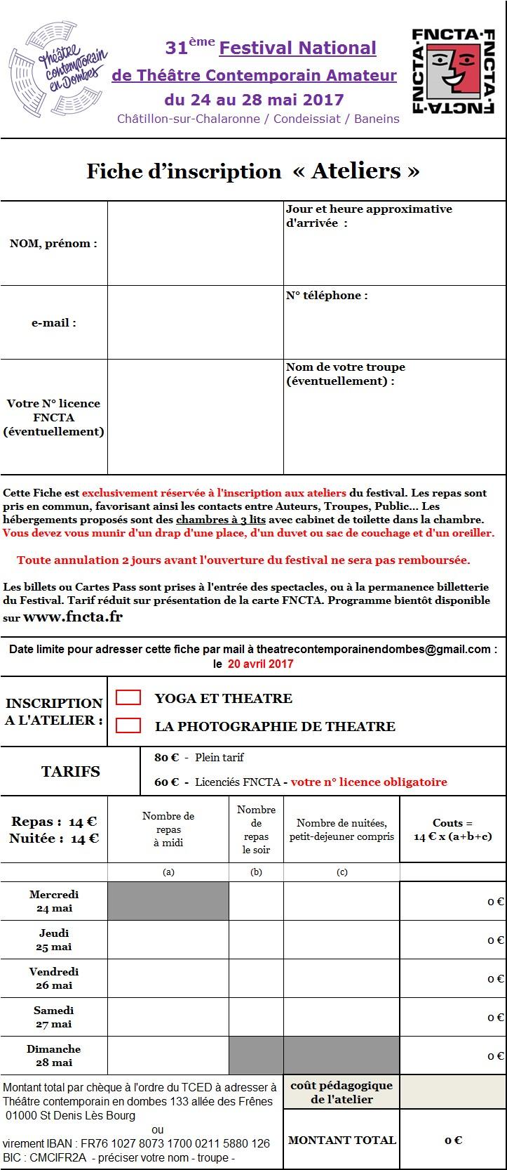 FESTIVAL CHATILLON 2017 - ATELIERS Fiche inscription-B