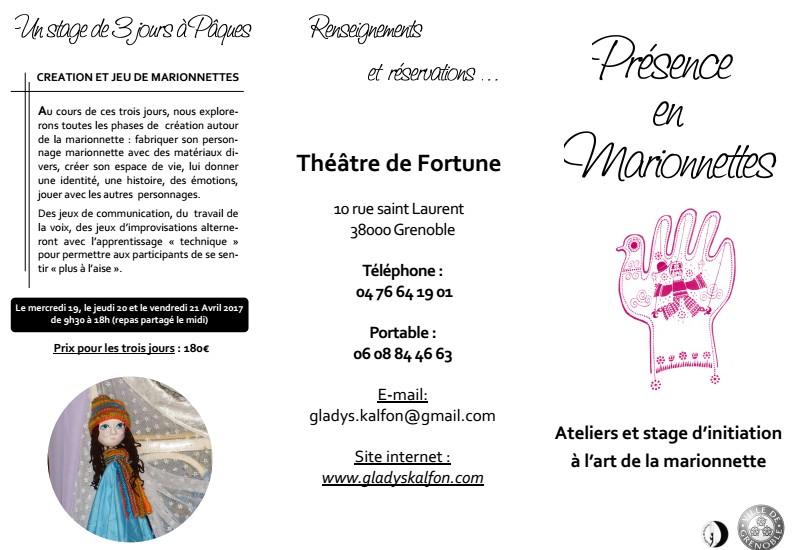 Stage marionnettes G Kalfon Grenoble 2017