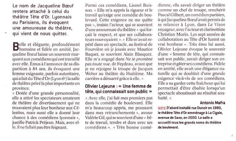 Hommage à Jacqueline Boeuf Le Progres 05 05 2017